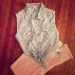 Front-tie cropped polka dot top